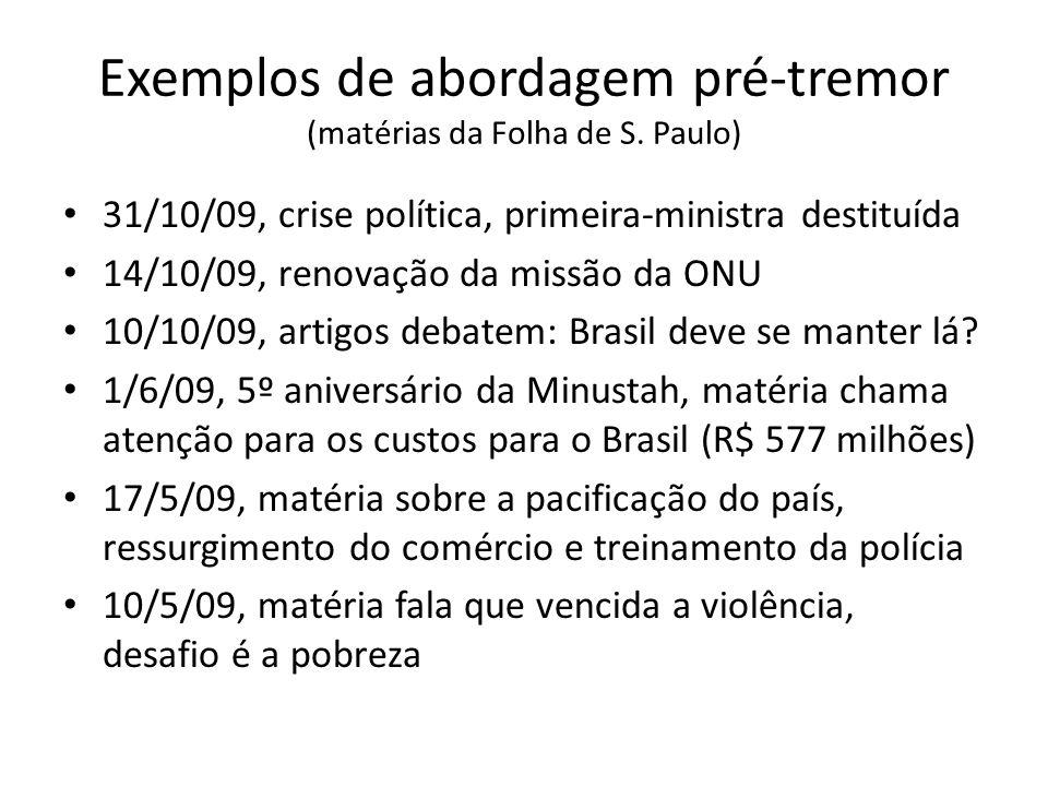 Exemplos de abordagem pré-tremor (matérias da Folha de S. Paulo)