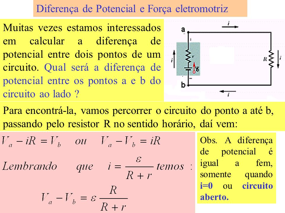 Diferença de Potencial e Força eletromotriz