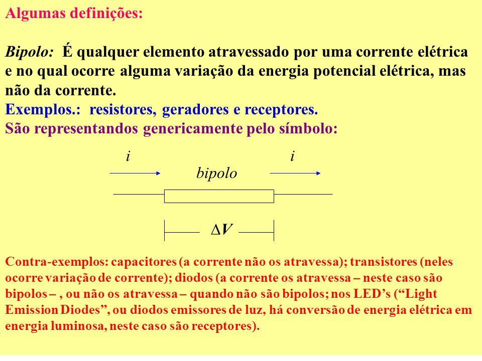 Exemplos.: resistores, geradores e receptores.