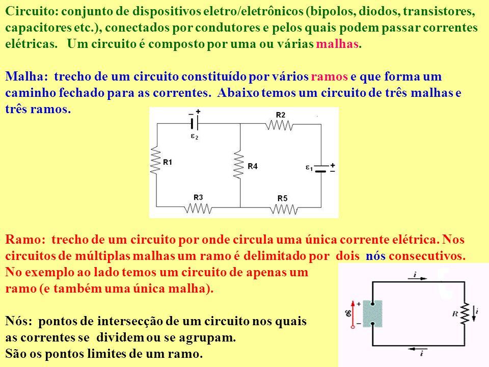 Circuito: conjunto de dispositivos eletro/eletrônicos (bipolos, diodos, transistores, capacitores etc.), conectados por condutores e pelos quais podem passar correntes elétricas. Um circuito é composto por uma ou várias malhas.