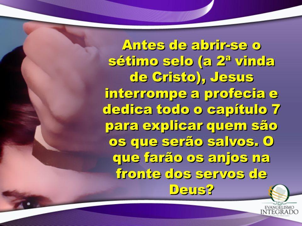 Antes de abrir-se o sétimo selo (a 2ª vinda de Cristo), Jesus interrompe a profecia e dedica todo o capítulo 7 para explicar quem são os que serão salvos.