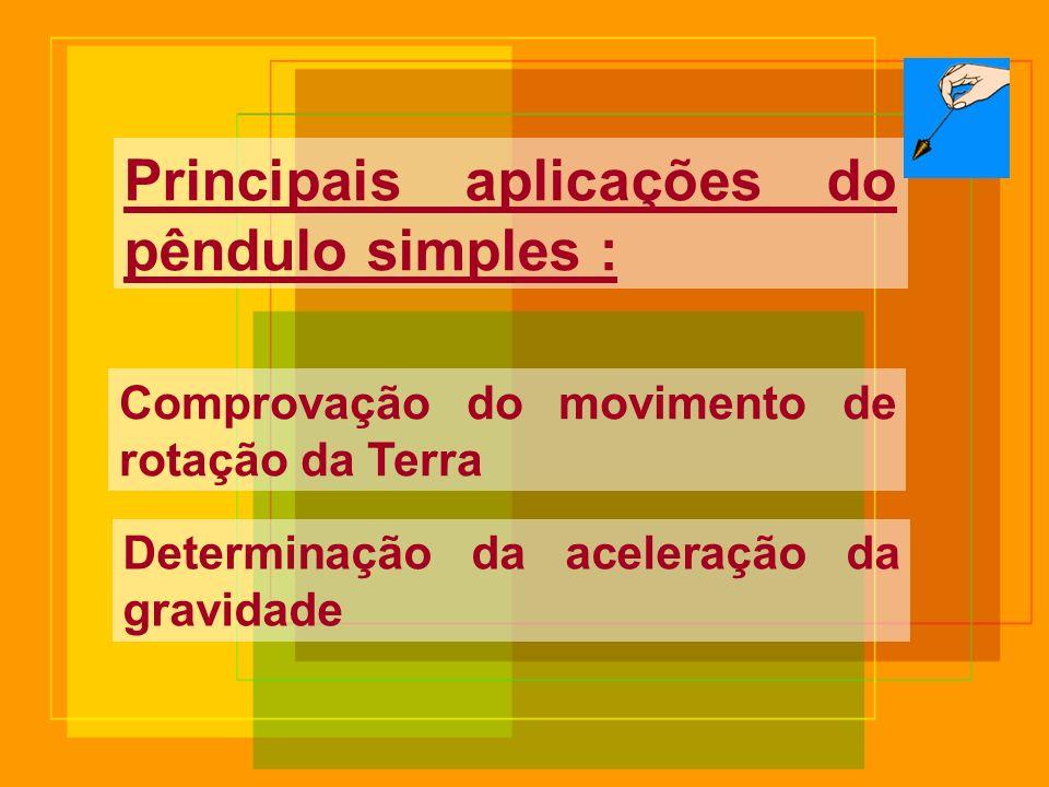 Principais aplicações do pêndulo simples :