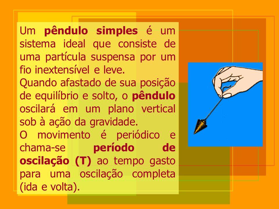 Um pêndulo simples é um sistema ideal que consiste de uma partícula suspensa por um fio inextensível e leve.