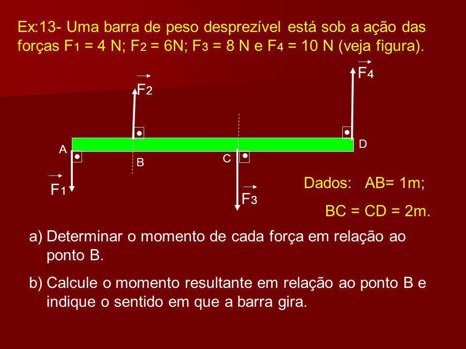 Determinar o momento de cada força em relação ao ponto B.