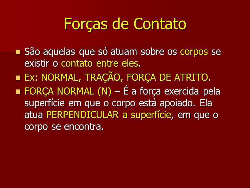 Forças de Contato São aquelas que só atuam sobre os corpos se existir o contato entre eles. Ex: NORMAL, TRAÇÃO, FORÇA DE ATRITO.
