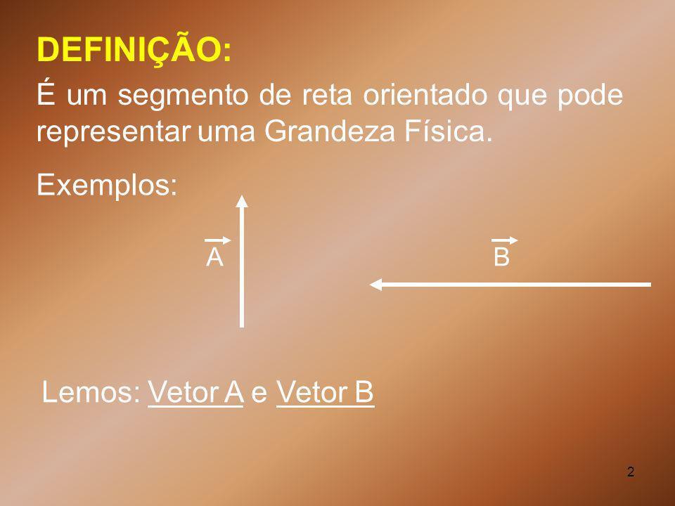 DEFINIÇÃO: É um segmento de reta orientado que pode representar uma Grandeza Física. Exemplos: A.