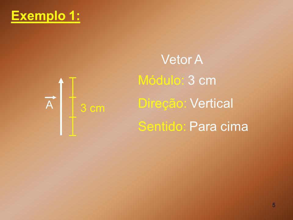 Exemplo 1: Vetor A Módulo: 3 cm Direção: Vertical Sentido: Para cima A