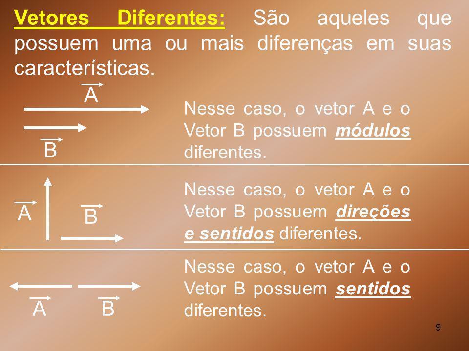 Vetores Diferentes: São aqueles que possuem uma ou mais diferenças em suas características.