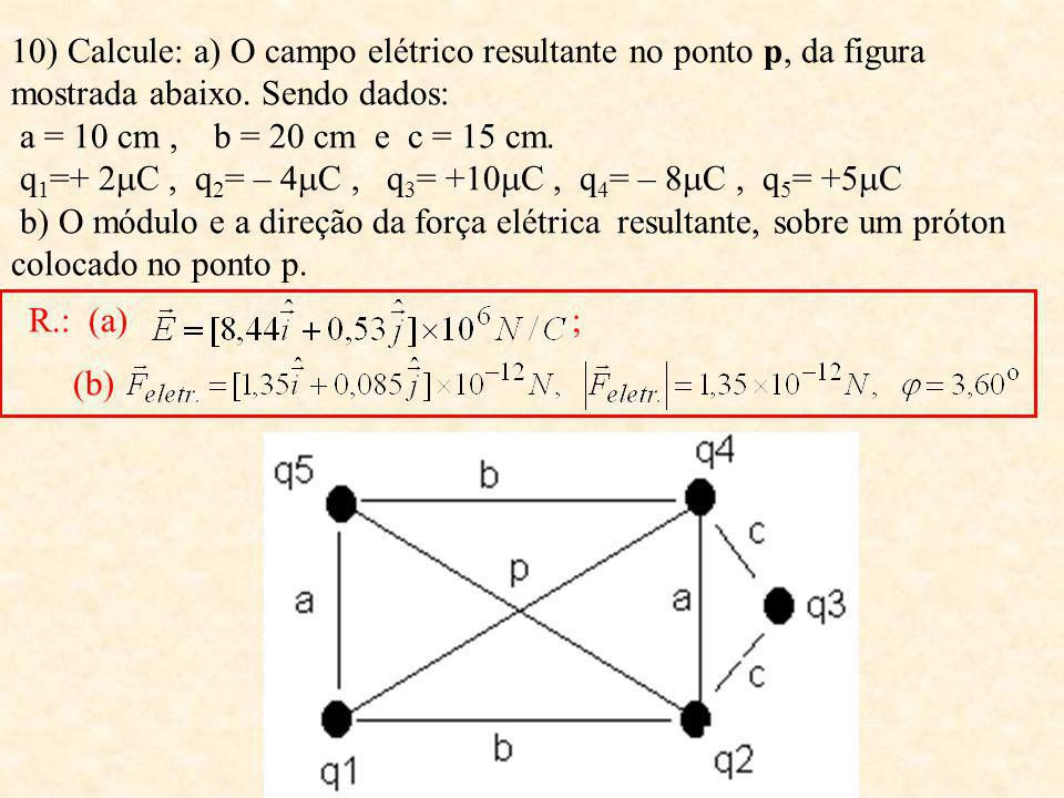 10) Calcule: a) O campo elétrico resultante no ponto p, da figura mostrada abaixo. Sendo dados: