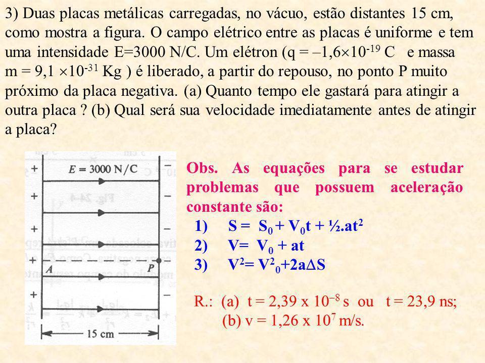 3) Duas placas metálicas carregadas, no vácuo, estão distantes 15 cm, como mostra a figura. O campo elétrico entre as placas é uniforme e tem uma intensidade E=3000 N/C. Um elétron (q = –1,610-19 C e massa m = 9,1 10-31 Kg ) é liberado, a partir do repouso, no ponto P muito próximo da placa negativa. (a) Quanto tempo ele gastará para atingir a outra placa (b) Qual será sua velocidade imediatamente antes de atingir a placa