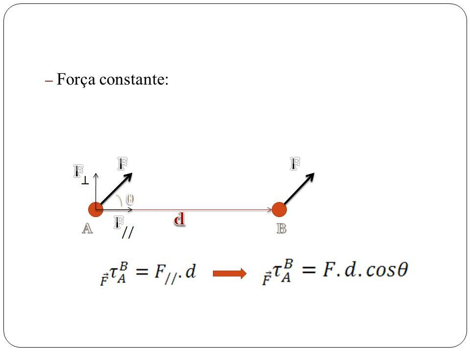 Força constante: F F F θ d F A B