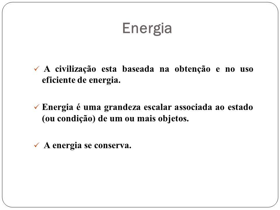 Energia A civilização esta baseada na obtenção e no uso eficiente de energia.