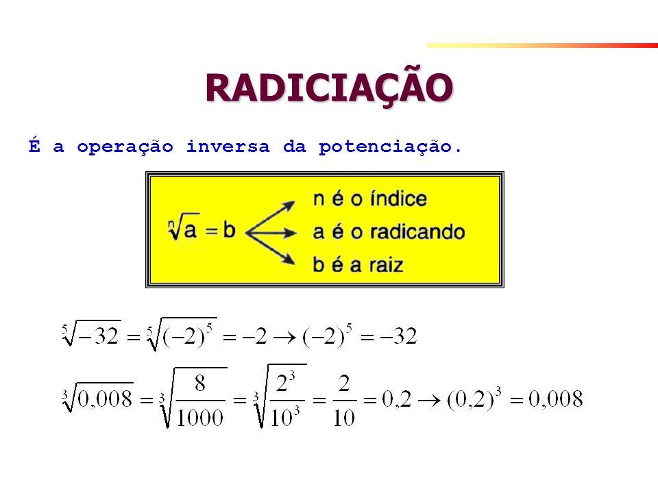 RADICIAÇÃO É a operação inversa da potenciação.