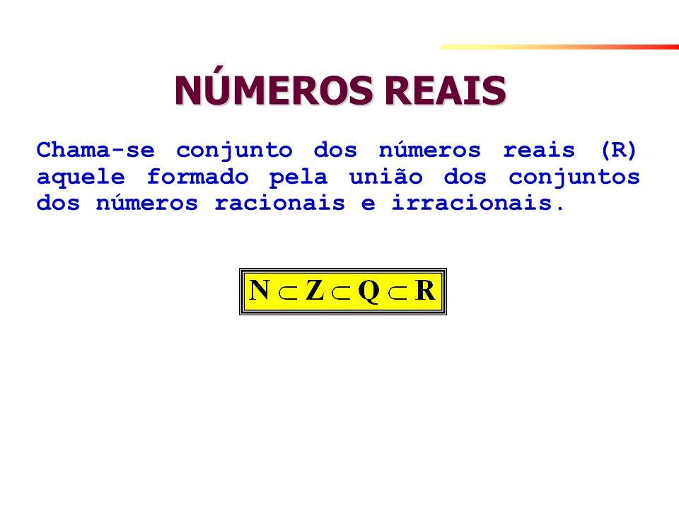 NÚMEROS REAISChama-se conjunto dos números reais (R) aquele formado pela união dos conjuntos dos números racionais e irracionais.