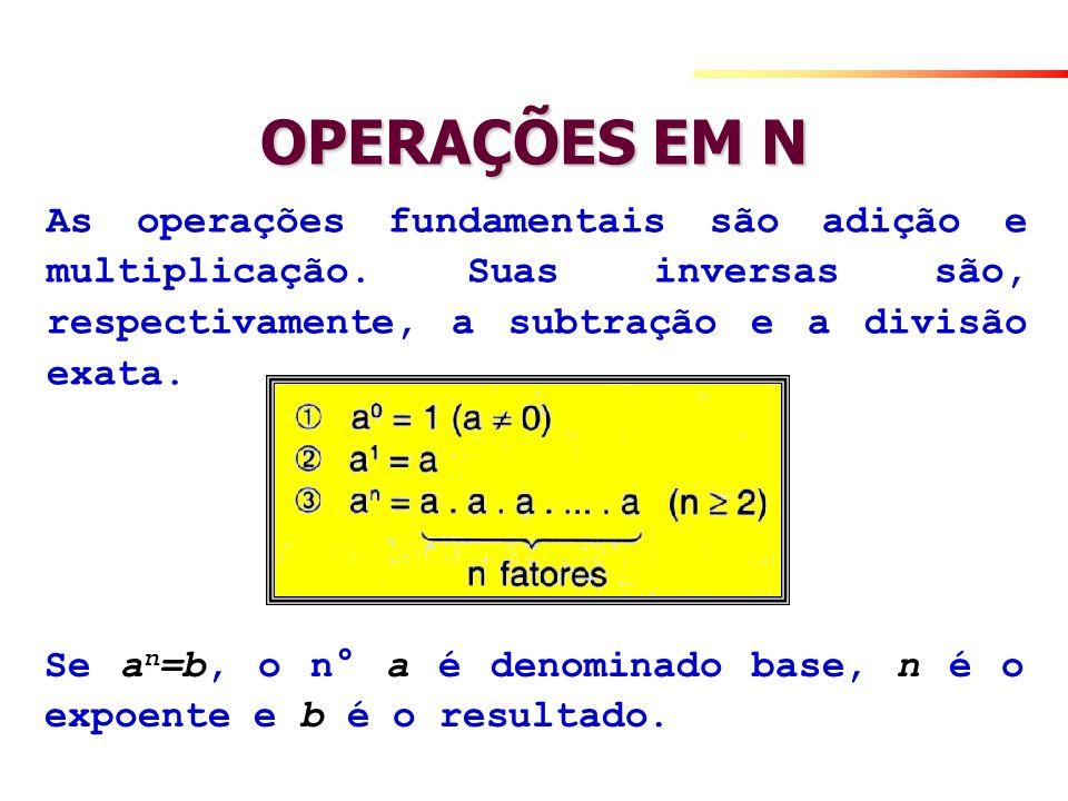OPERAÇÕES EM N As operações fundamentais são adição e multiplicação. Suas inversas são, respectivamente, a subtração e a divisão exata.