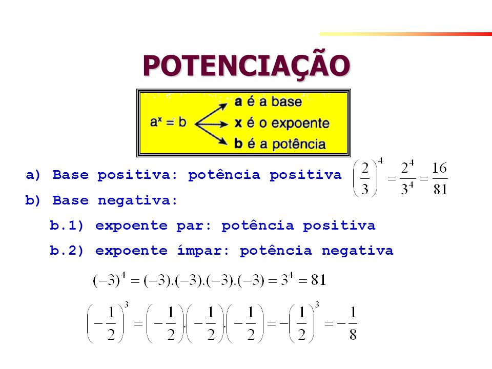 POTENCIAÇÃO a) Base positiva: potência positiva b) Base negativa: