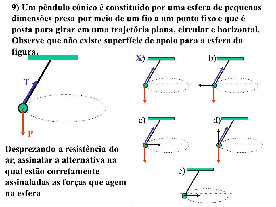 9) Um pêndulo cônico é constituído por uma esfera de pequenas dimensões presa por meio de um fio a um ponto fixo e que é posta para girar em uma trajetória plana, circular e horizontal. Observe que não existe superfície de apoio para a esfera da figura.