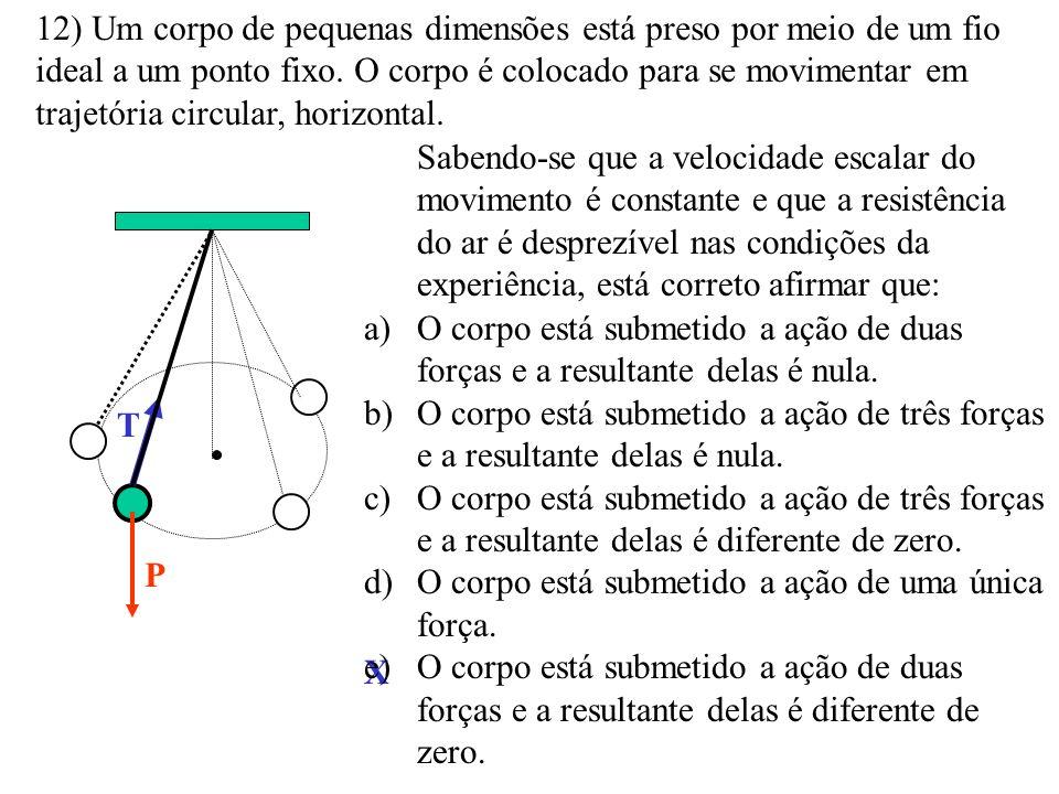 12) Um corpo de pequenas dimensões está preso por meio de um fio ideal a um ponto fixo. O corpo é colocado para se movimentar em trajetória circular, horizontal.