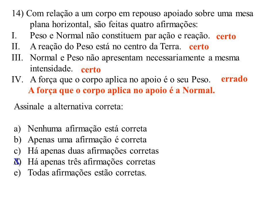 14) Com relação a um corpo em repouso apoiado sobre uma mesa plana horizontal, são feitas quatro afirmações: