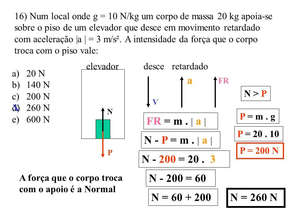 a FR = m . | a | N - P = m . | a | N - 200 = 20 . 3 N - 200 = 60