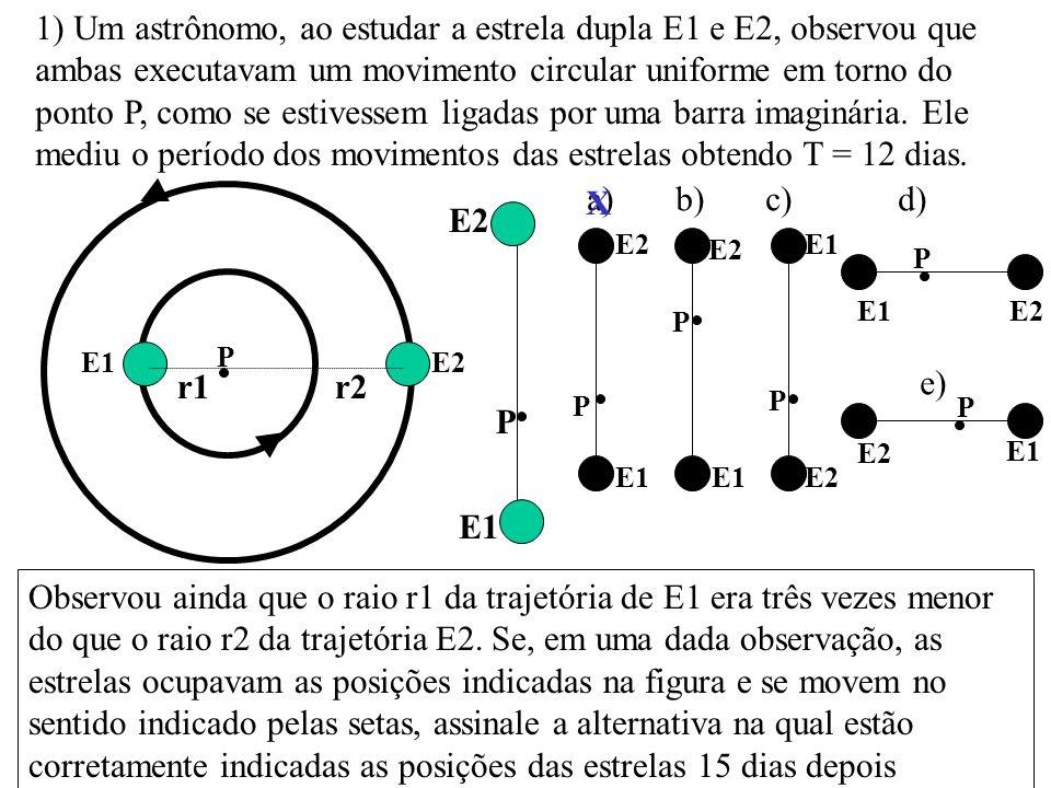 1) Um astrônomo, ao estudar a estrela dupla E1 e E2, observou que ambas executavam um movimento circular uniforme em torno do ponto P, como se estivessem ligadas por uma barra imaginária. Ele mediu o período dos movimentos das estrelas obtendo T = 12 dias.
