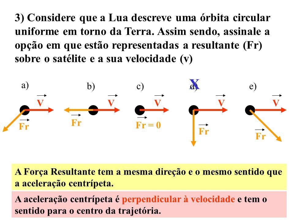 3) Considere que a Lua descreve uma órbita circular uniforme em torno da Terra. Assim sendo, assinale a opção em que estão representadas a resultante (Fr) sobre o satélite e a sua velocidade (v)