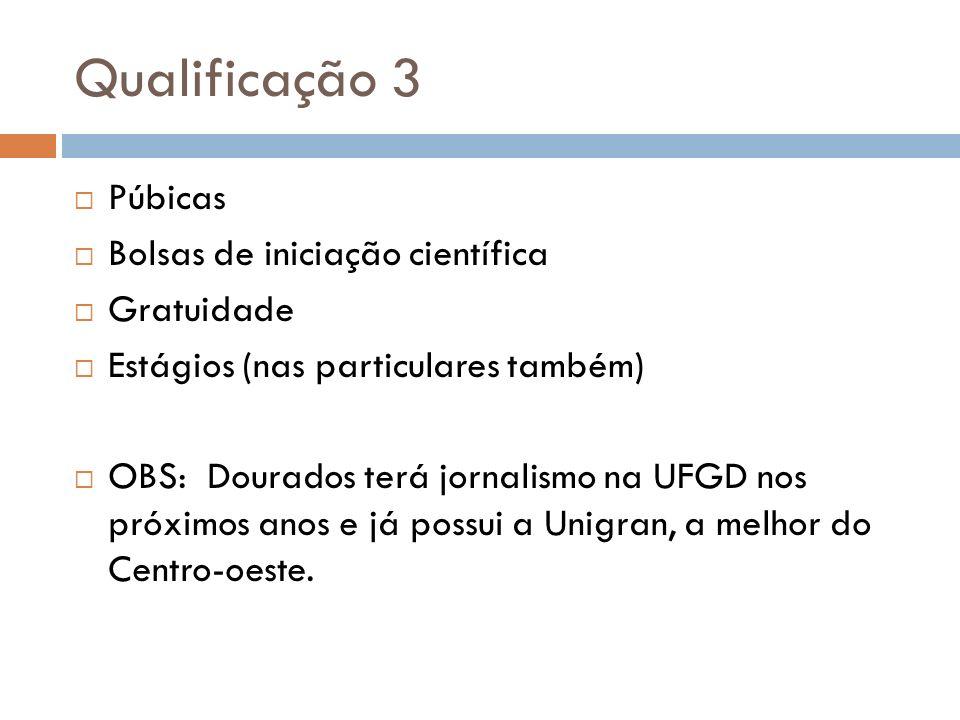 Qualificação 3 Púbicas Bolsas de iniciação científica Gratuidade