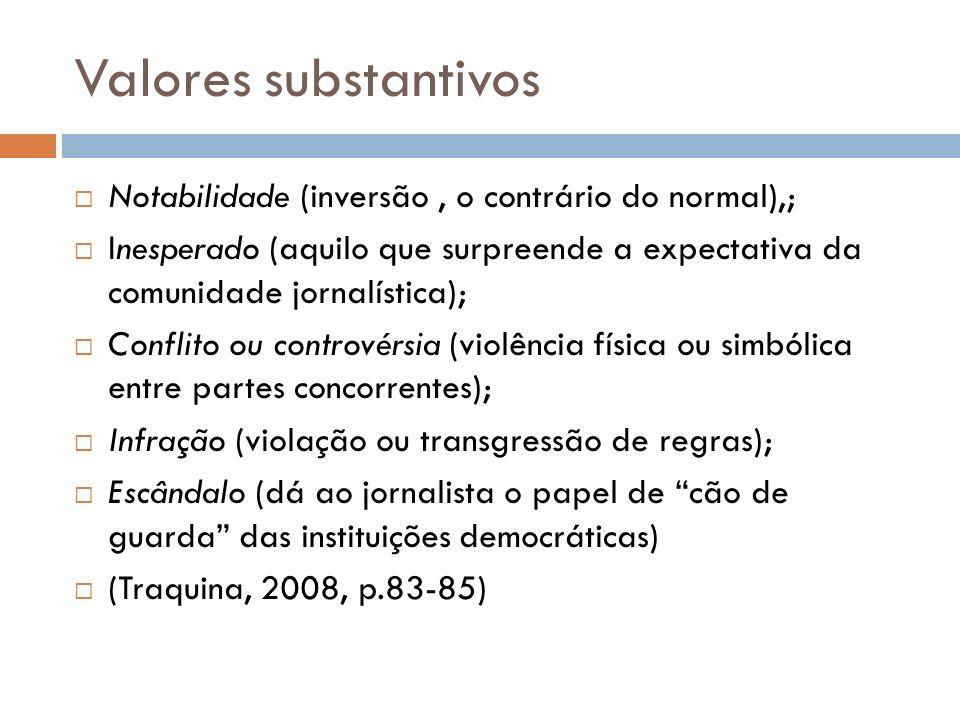 Valores substantivos Notabilidade (inversão , o contrário do normal),;