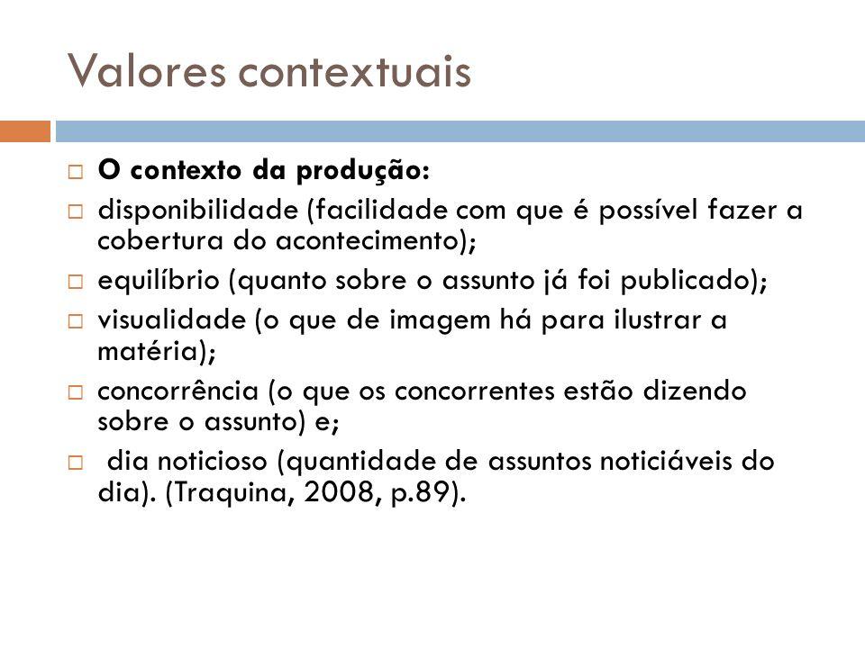 Valores contextuais O contexto da produção: