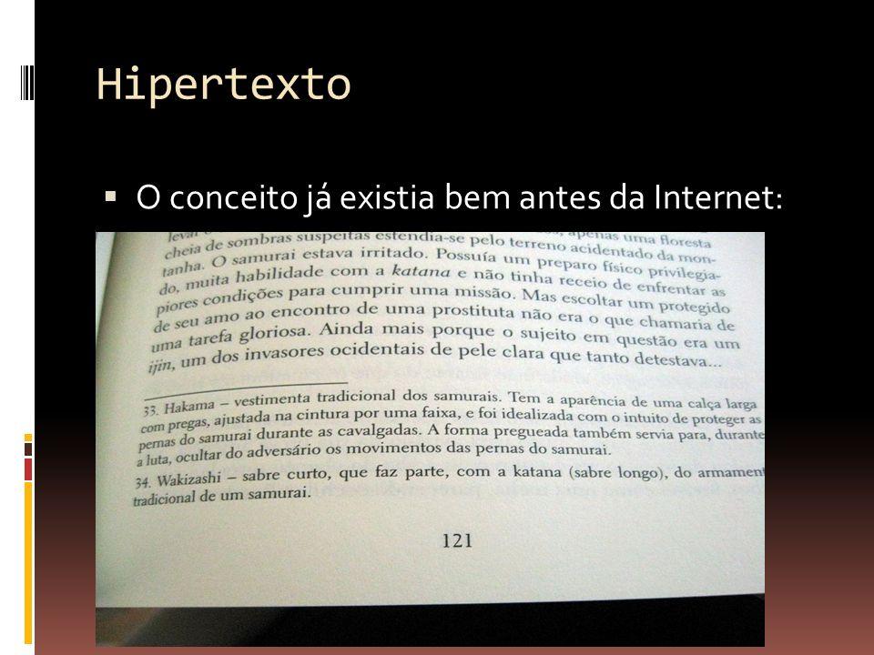 Hipertexto O conceito já existia bem antes da Internet: