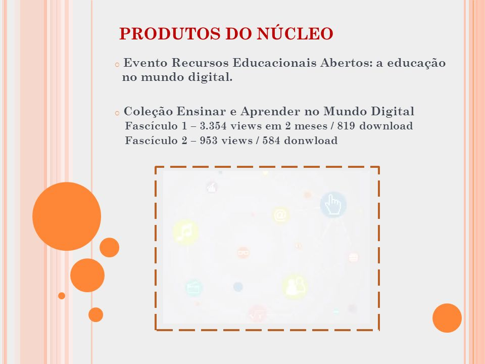 PRODUTOS DO NÚCLEO Evento Recursos Educacionais Abertos: a educação no mundo digital.