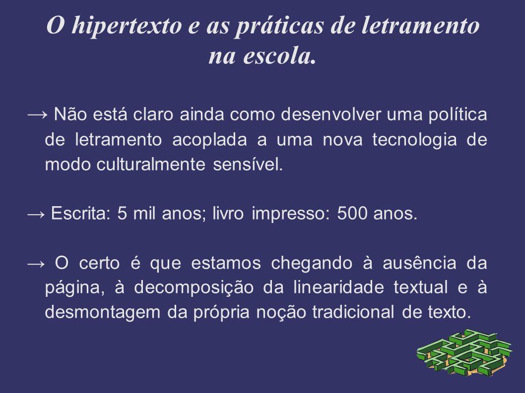 O hipertexto e as práticas de letramento na escola.