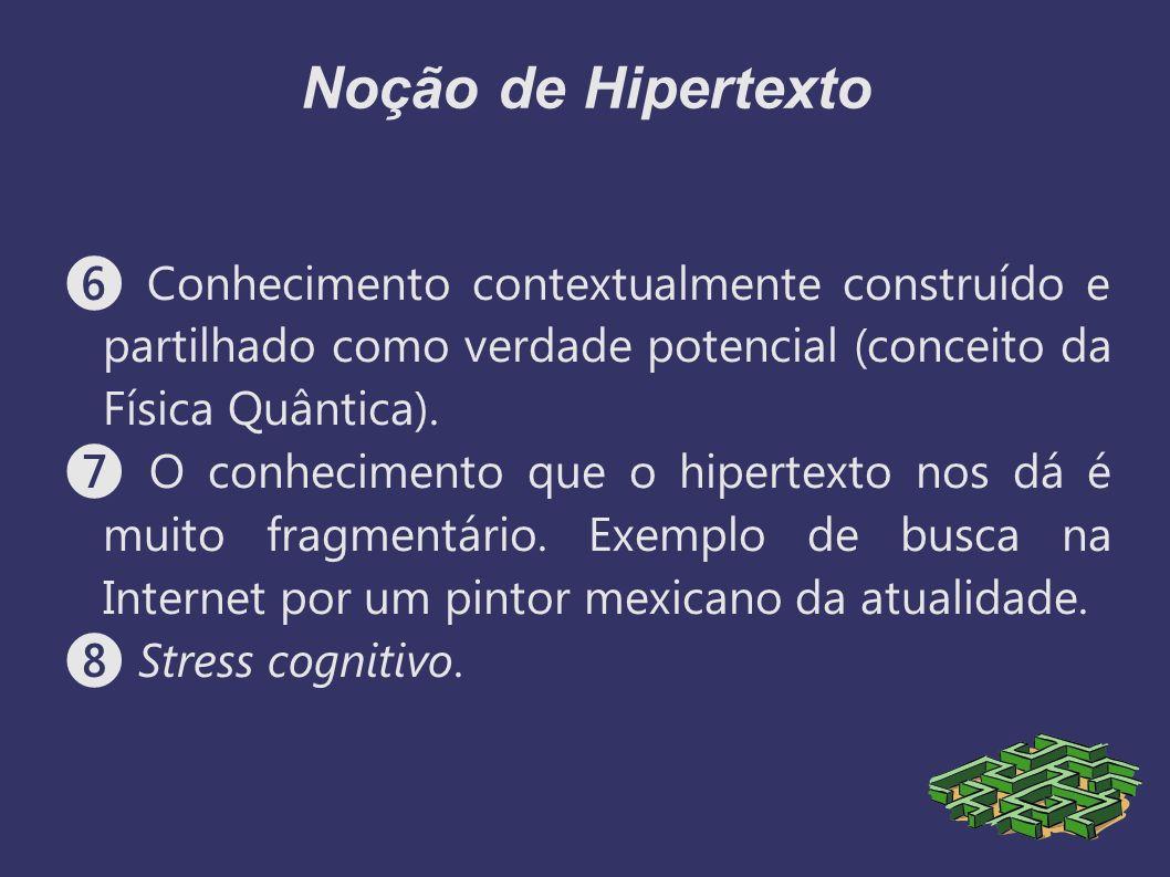 Noção de Hipertexto ❻ Conhecimento contextualmente construído e partilhado como verdade potencial (conceito da Física Quântica).