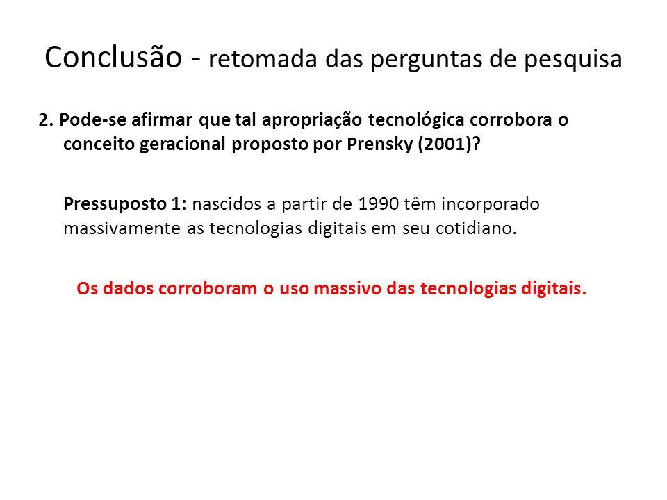 Os dados corroboram o uso massivo das tecnologias digitais.