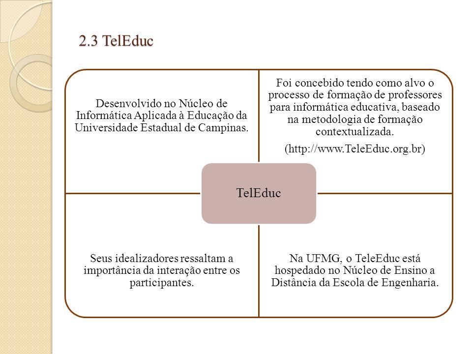2.3 TelEduc TelEduc. Desenvolvido no Núcleo de Informática Aplicada à Educação da Universidade Estadual de Campinas.