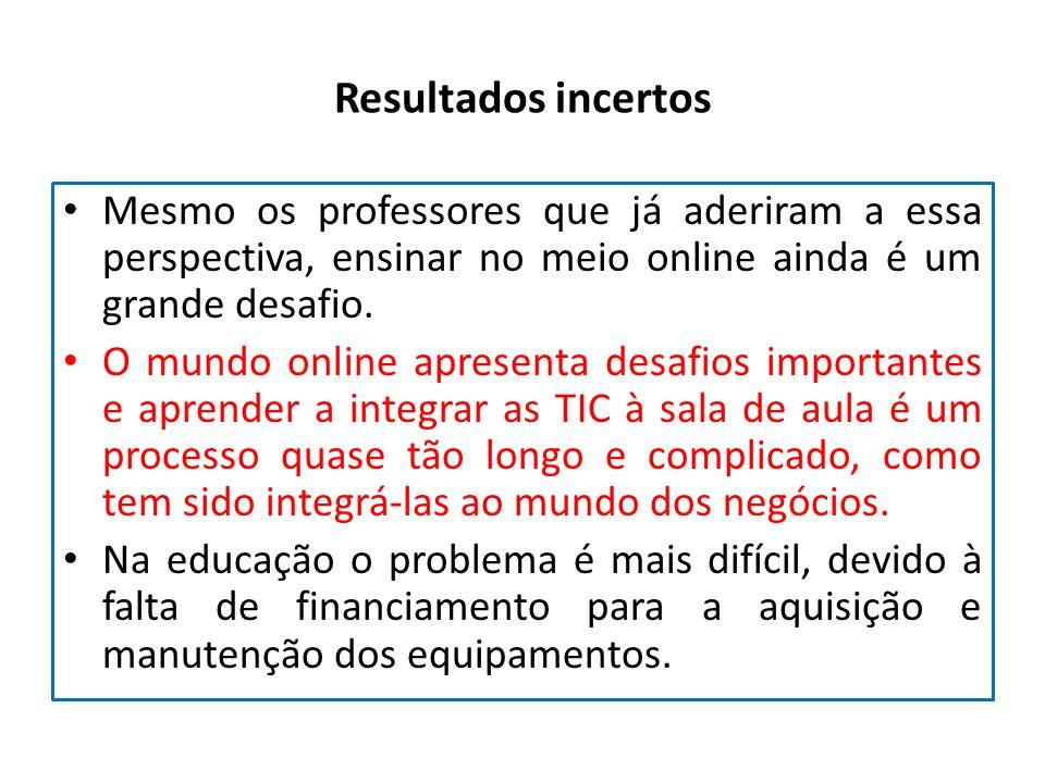 Resultados incertos Mesmo os professores que já aderiram a essa perspectiva, ensinar no meio online ainda é um grande desafio.