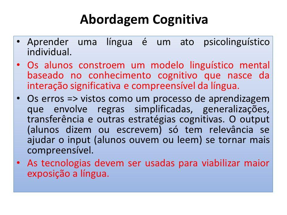 Abordagem Cognitiva Aprender uma língua é um ato psicolinguístico individual.