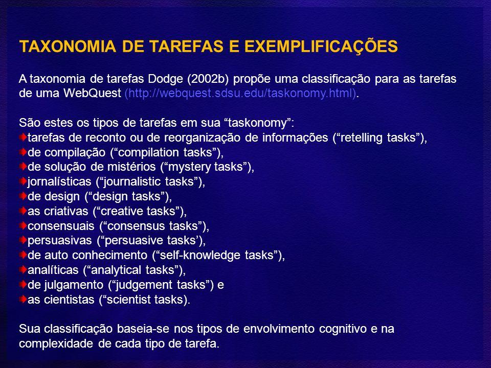 TAXONOMIA DE TAREFAS E EXEMPLIFICAÇÕES