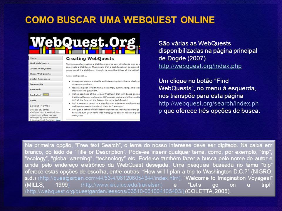 COMO BUSCAR UMA WEBQUEST ONLINE