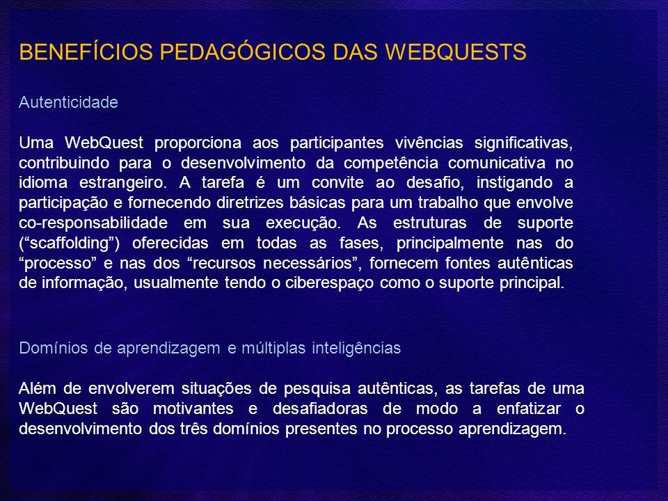 BENEFÍCIOS PEDAGÓGICOS DAS WEBQUESTS