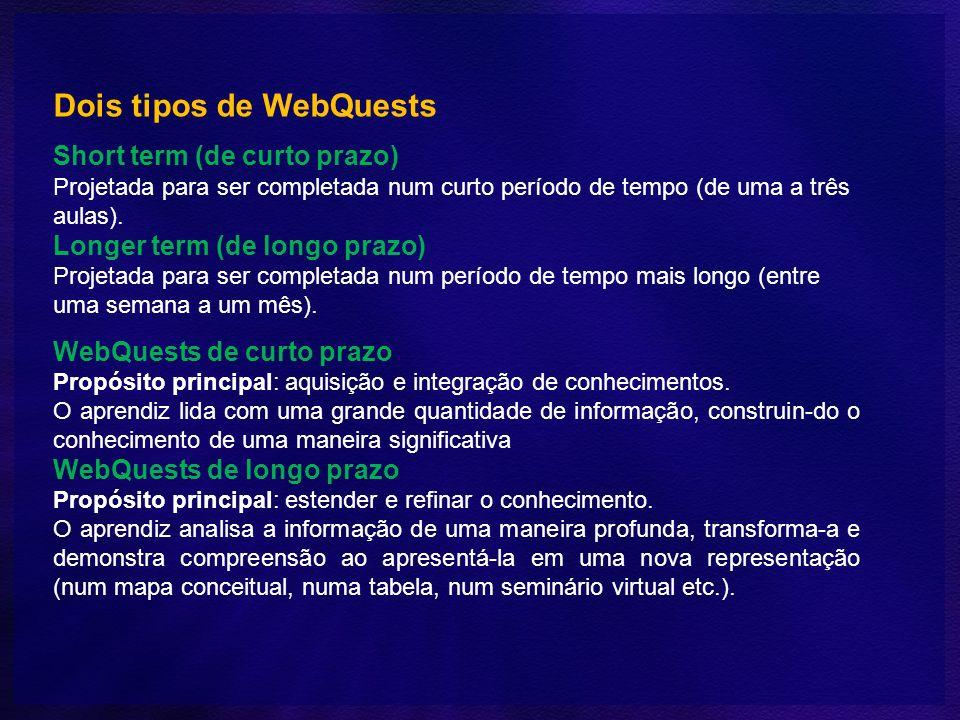 Dois tipos de WebQuests