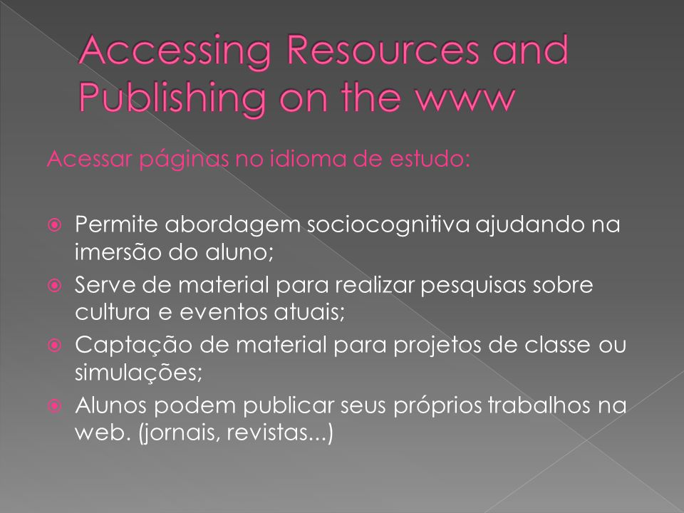 Accessing Resources and Publishing on the www