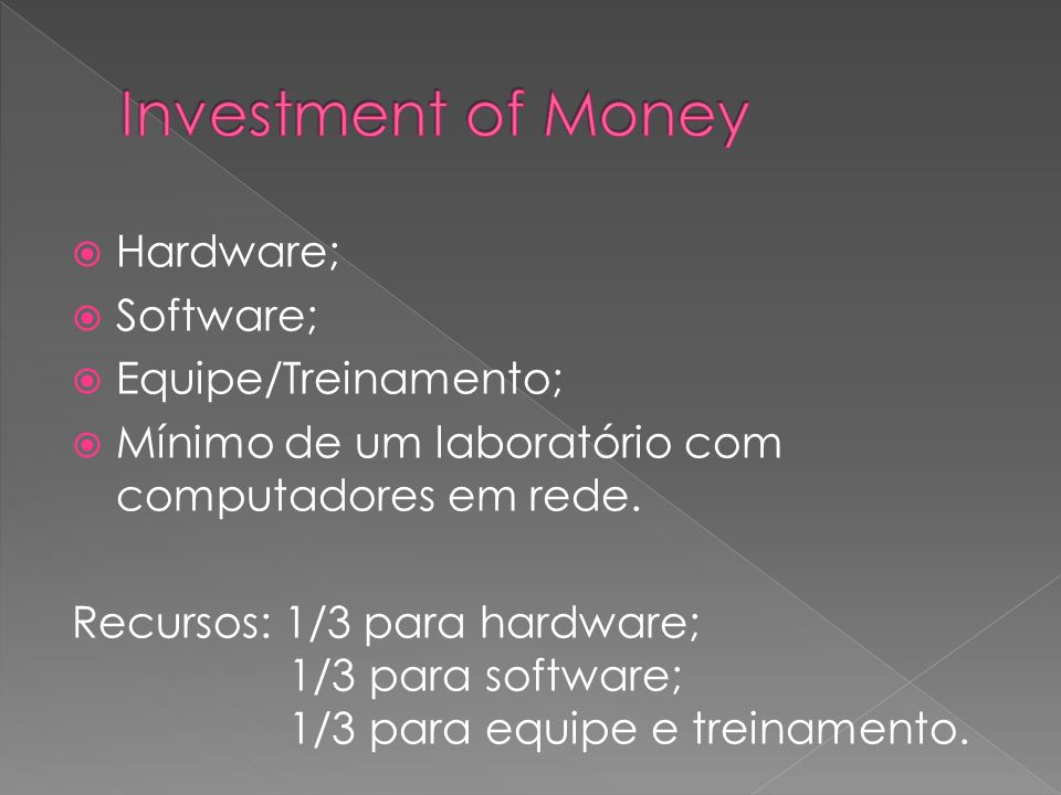 Investment of Money Hardware; Software; Equipe/Treinamento;
