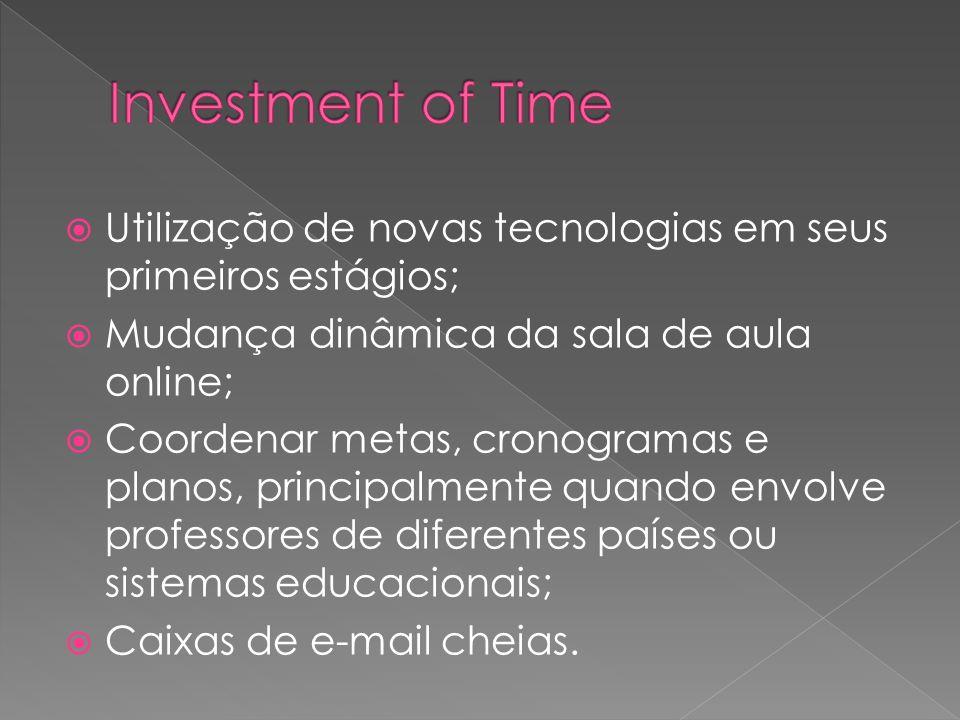 Investment of TimeUtilização de novas tecnologias em seus primeiros estágios; Mudança dinâmica da sala de aula online;