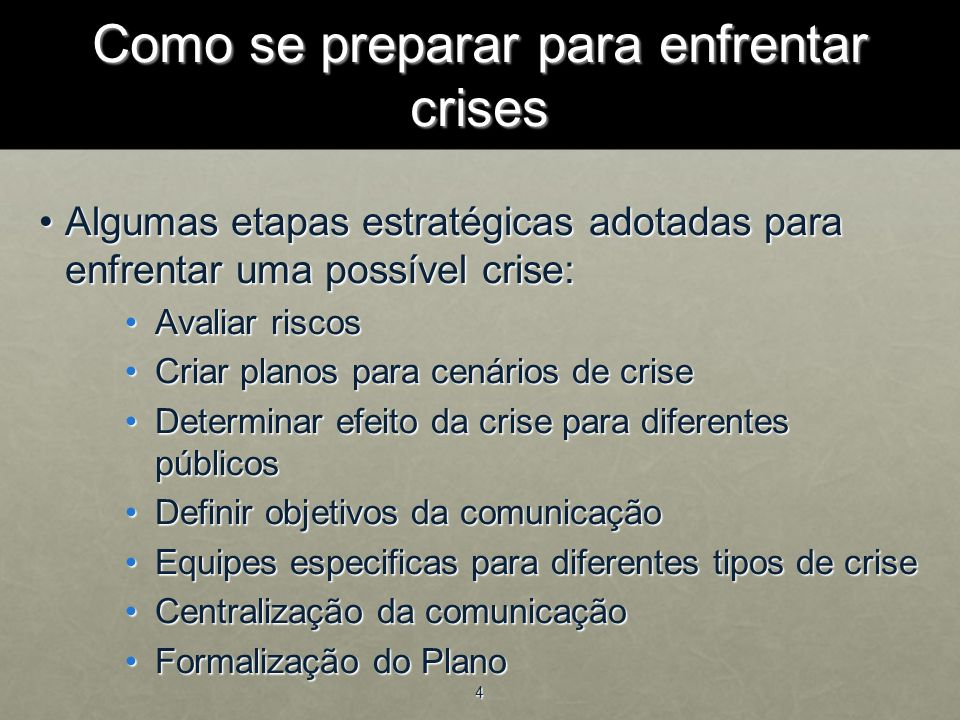 Como se preparar para enfrentar crises