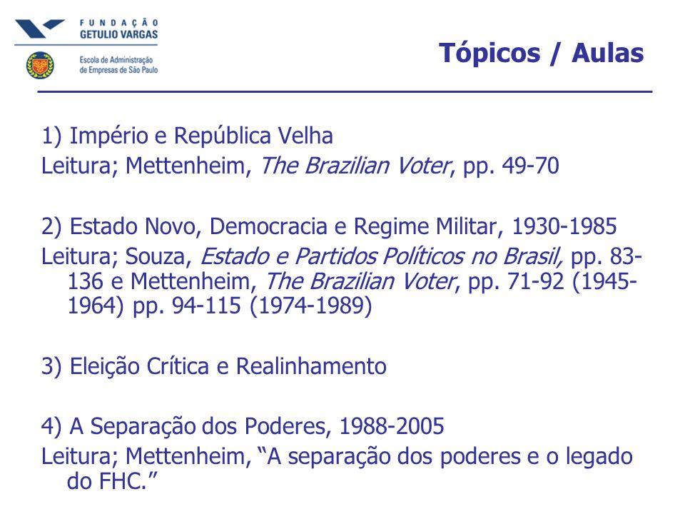 Tópicos / Aulas 1) Império e República Velha