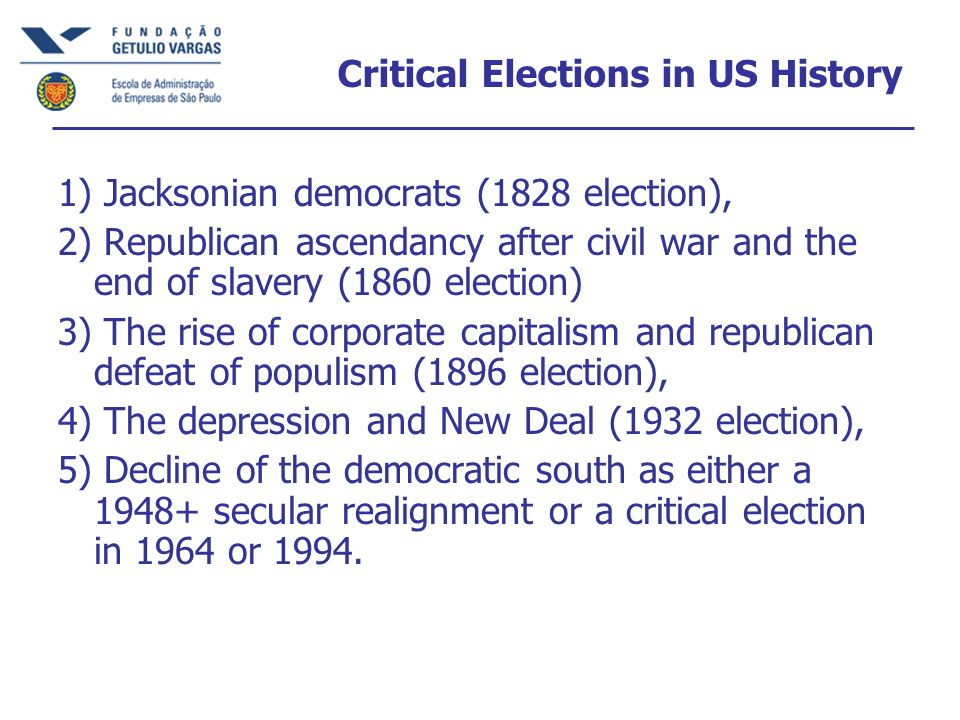 Critical Elections in US History