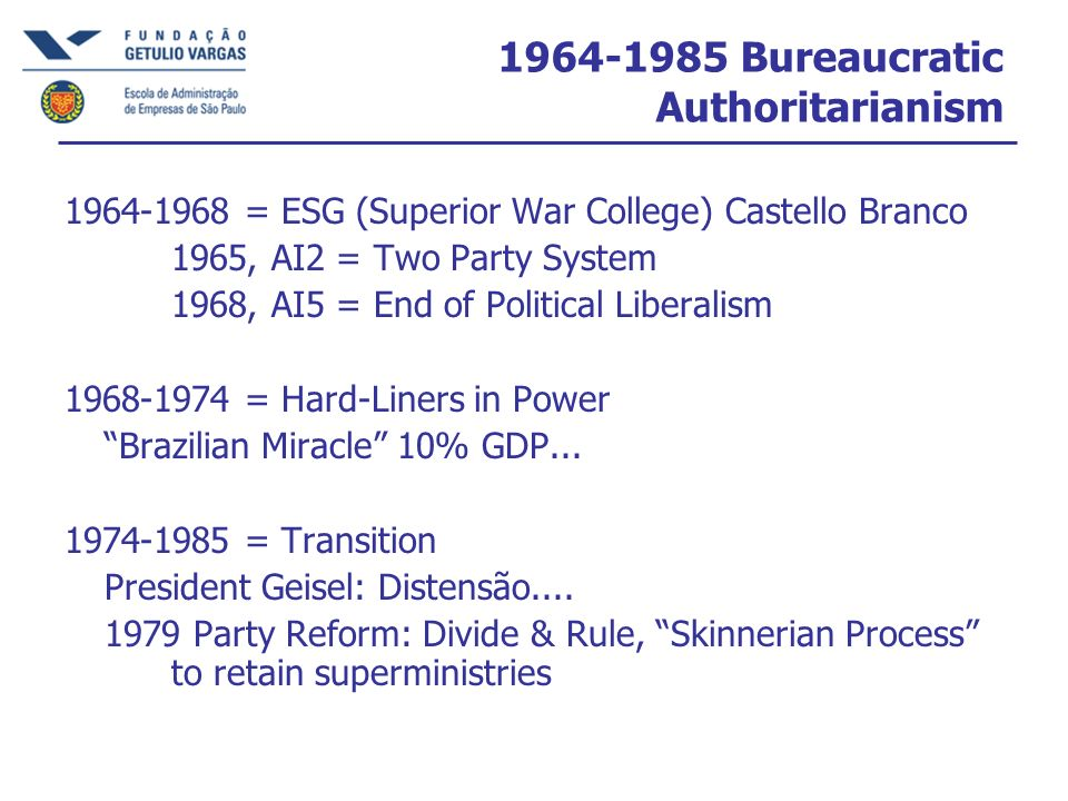 1964-1985 Bureaucratic Authoritarianism
