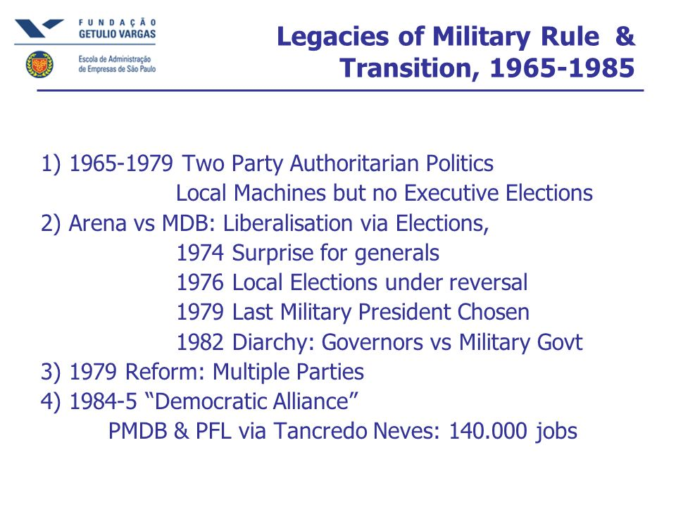 Legacies of Military Rule & Transition, 1965-1985