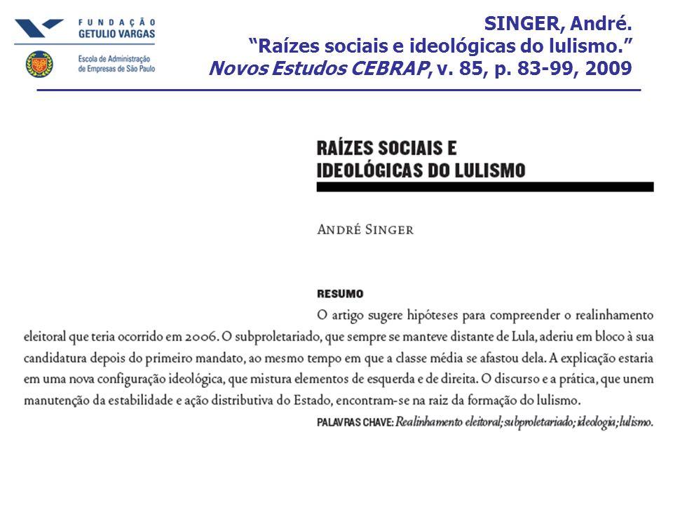 SINGER, André. Raízes sociais e ideológicas do lulismo
